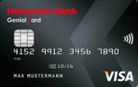 schwarze Kreditkarte der Hanseatic Bank mit NFC-Symbol